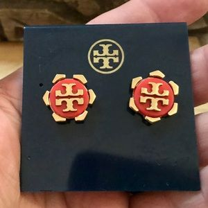 Tory Burch Gold Plated Coral Logo Stud Earrings